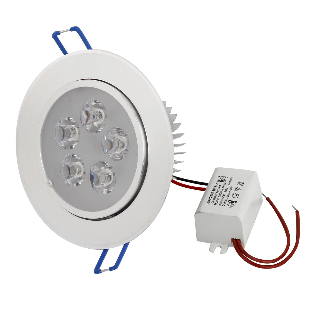 AC 220V 5x1W White LED Spot Recessed Ceiling Down Light Lamp w Power Driver