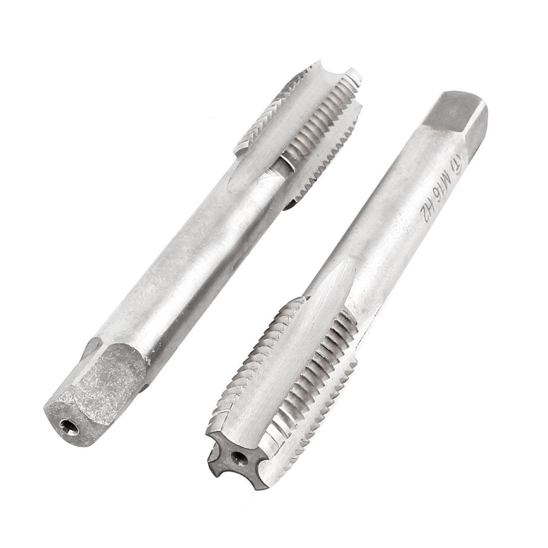 2 Pcs M16x33mm HSS 4 Flutes Machine Screw Thread Straight Metric Plug Taps