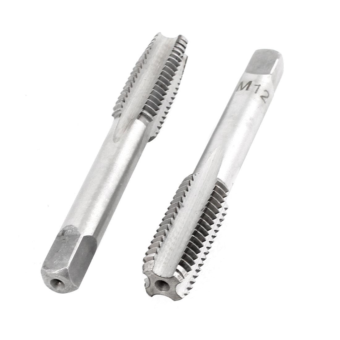 2 Pcs M12x30mm HSS 4 Flutes Hand Screw Thread Straight Metric Taps