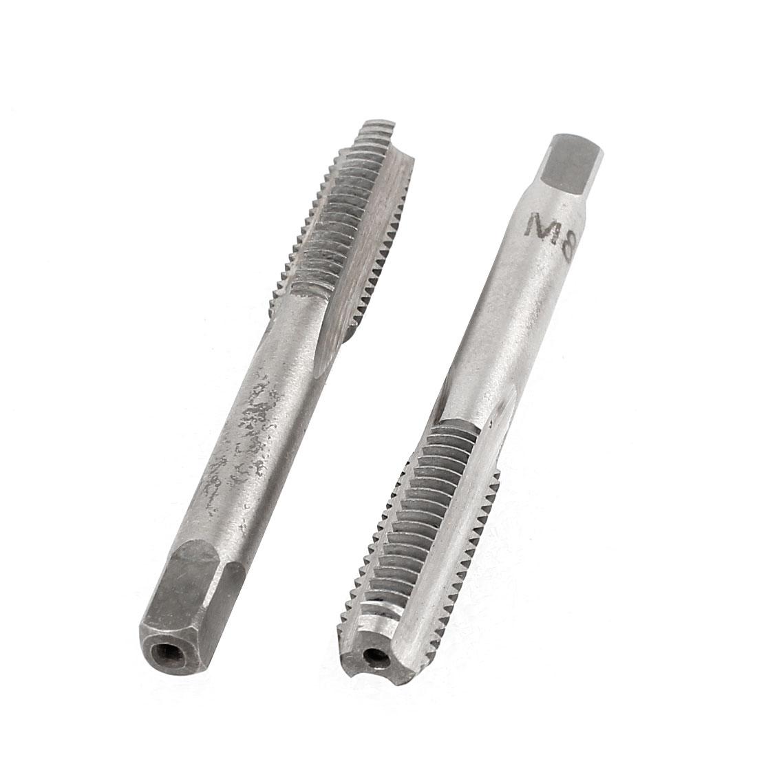 2 Pcs M8x23mm HSS 3 Flutes Hand Screw Thread Straight Metric Taps
