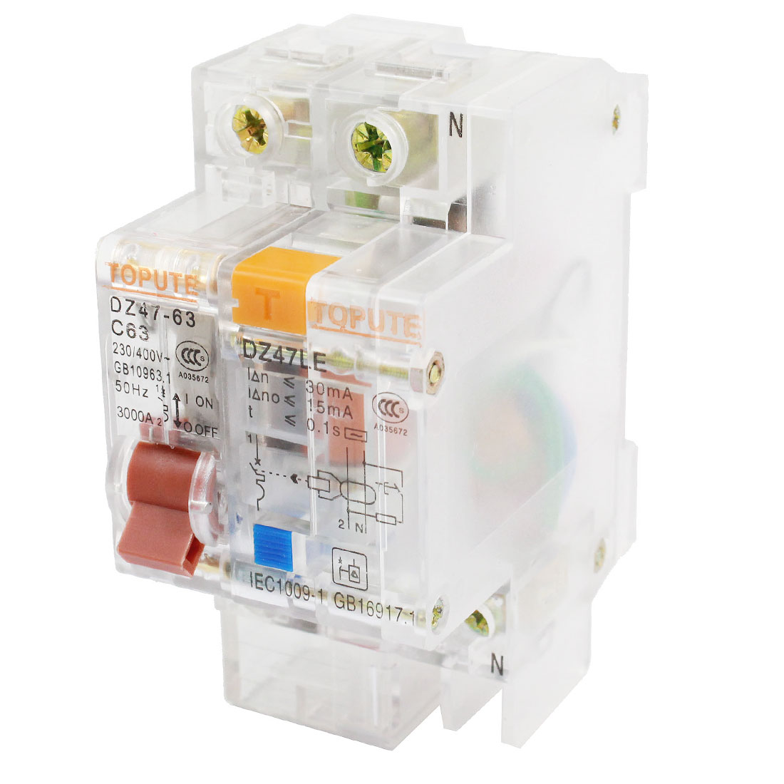 35mm DIN Rail Mounted Residual Current Circuit Breaker AC 230/400V 63A