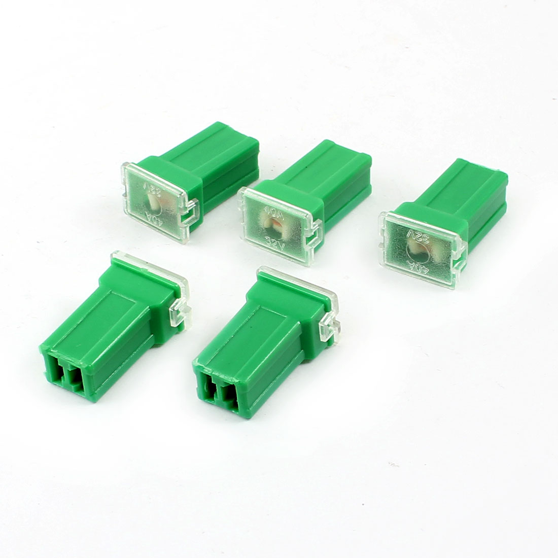 Vehicle Car Plastic Shell Straight Female Terminal Push in Blade Cartridge PAL Fuse 40Amp 32V Green 5pcs