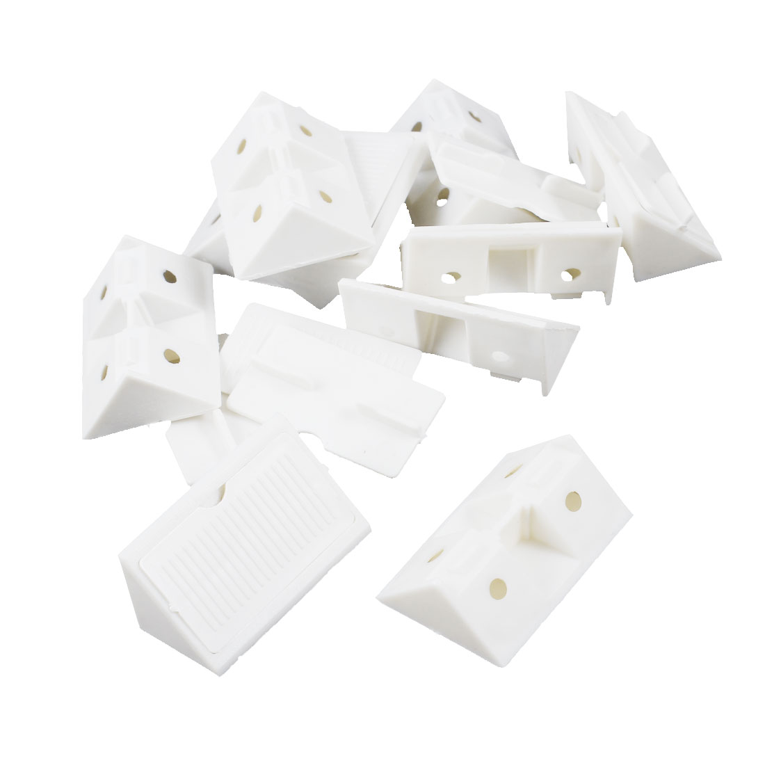 Furniture Cabinet Fastener Corner Braces Angle Brackets White 10pcs