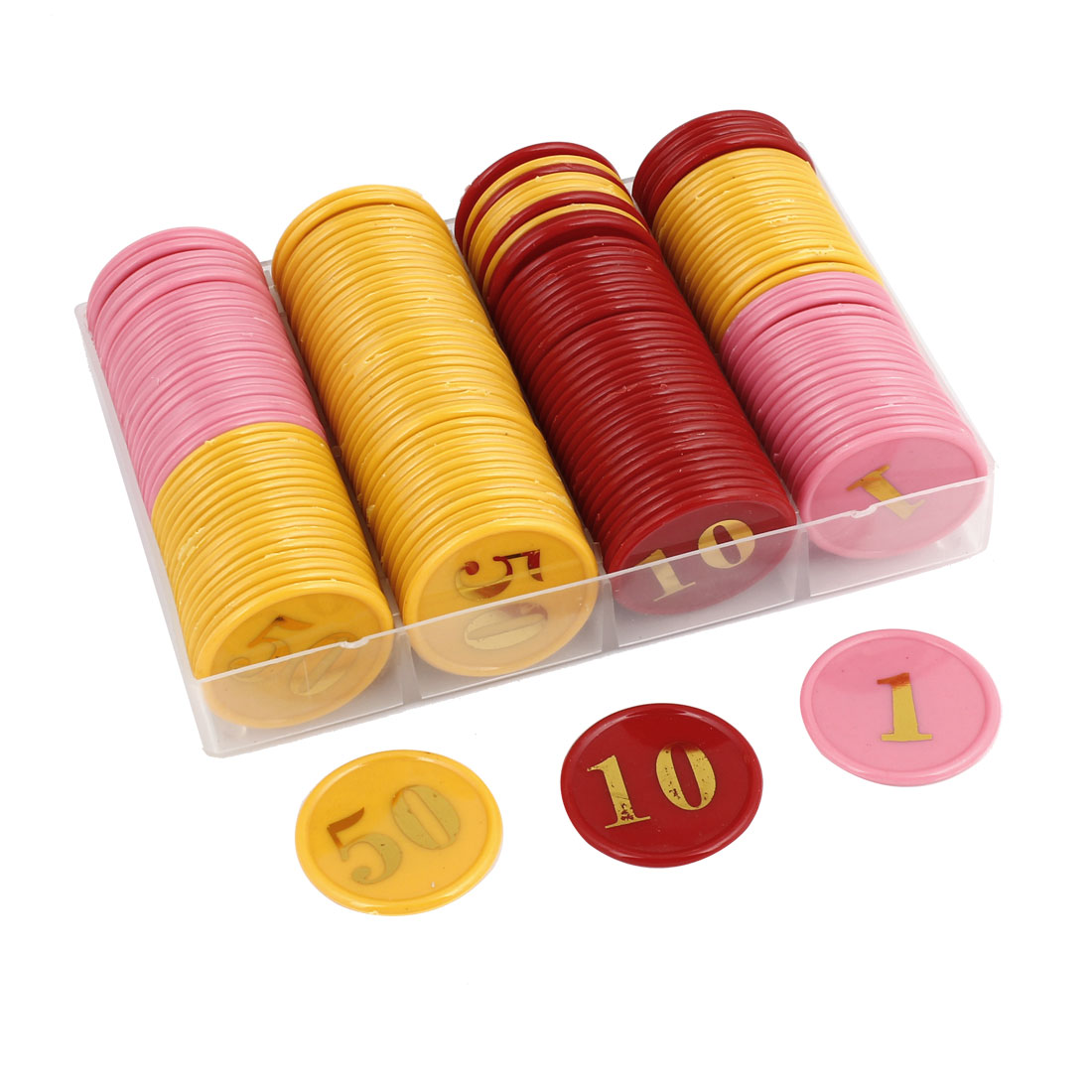 Red Pink Yellow Plastic Pocker Chips Game Tool Set 160 Pieces
