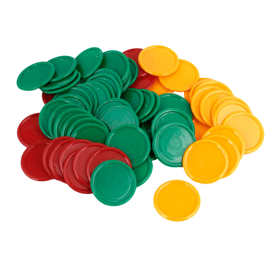 68 Pcs Green Yellow Red Plastic Round Shape Pocker Chips Set