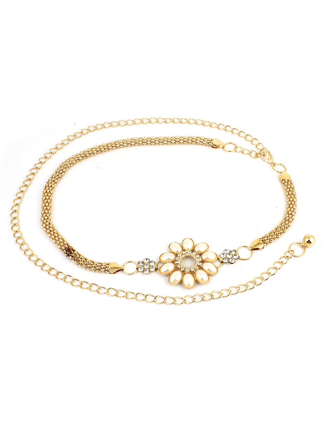 Ladies Rhinestone Detail Flower Ornament Adjustable Slim Waist Chain Gold Tone