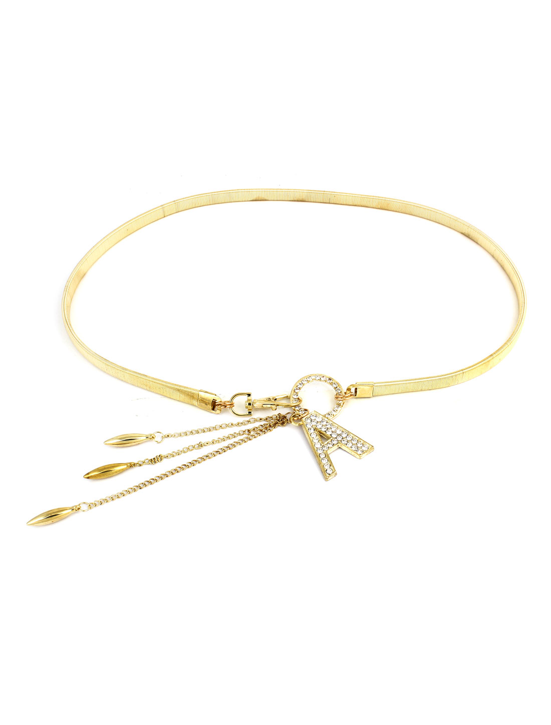 Lady Letter A Detail Gold Tone Metal Spring Clasp Elastic Waist Belt Chain