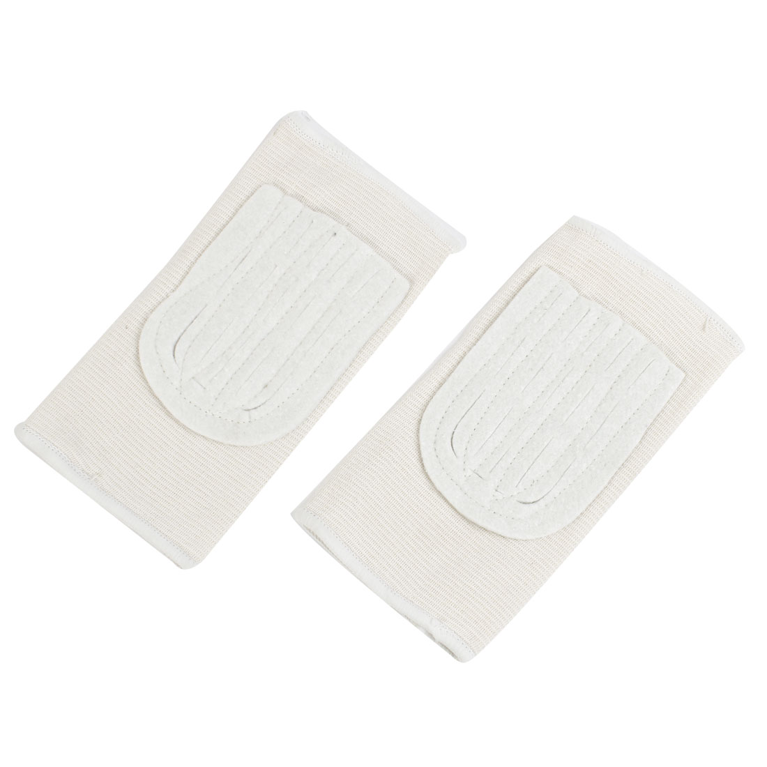 Pair Pullover Style Elastic Flat Knee Support Brace Protector White