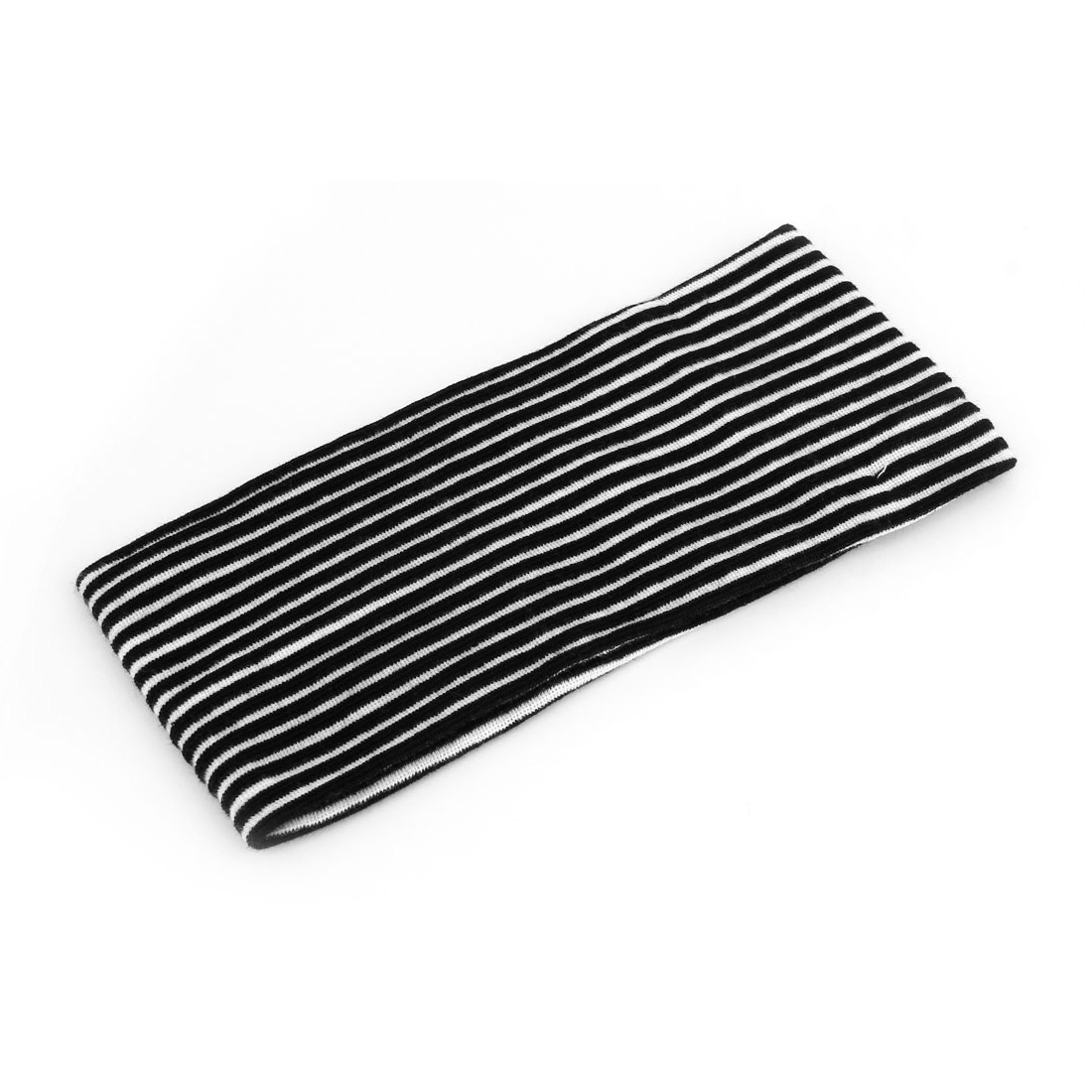 Ladies Black White Stripe Pattern Sport Stretch Headband Hairband