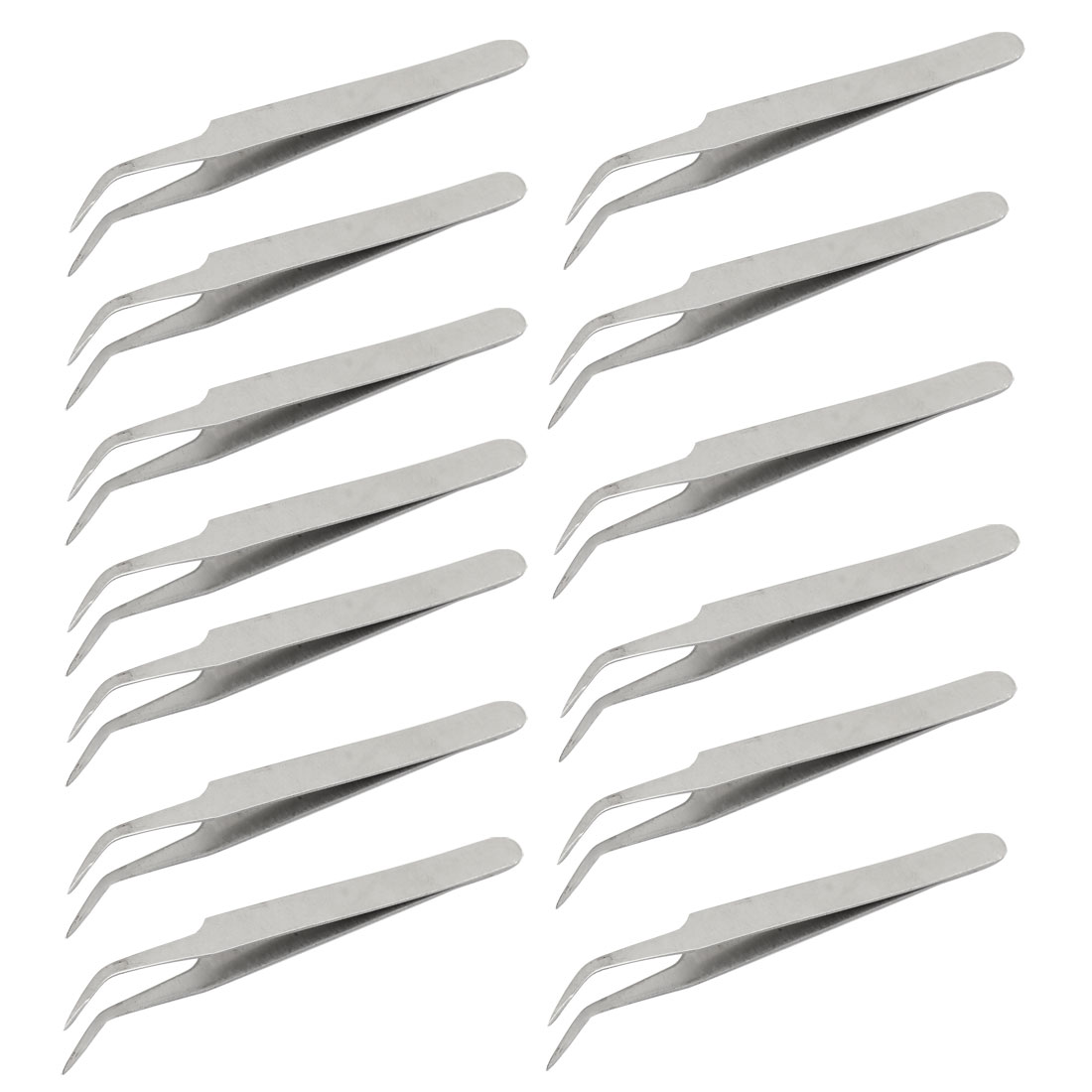 13 Pcs Silver Tone 115mm Length Curved Polished Tip Tweezers Pliers Repair Hand Tool