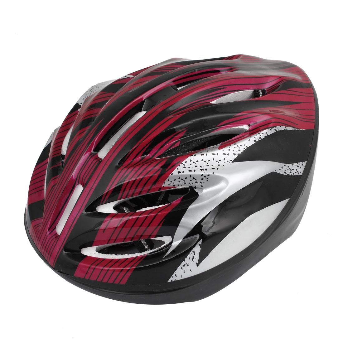 Adult Red Black Sponge Pad Adjustable Head Strap Outdoor Safety Bicycle Bike Skateboard Helmet