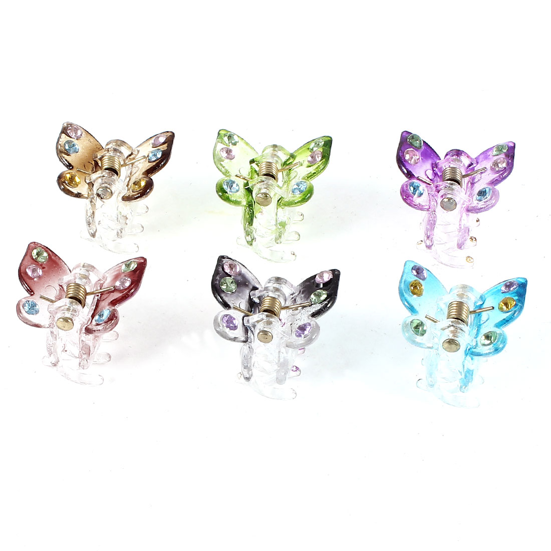 6 Pcs Multicolor Butterfly Design Mini Hair Snap Claw Clips for Lady
