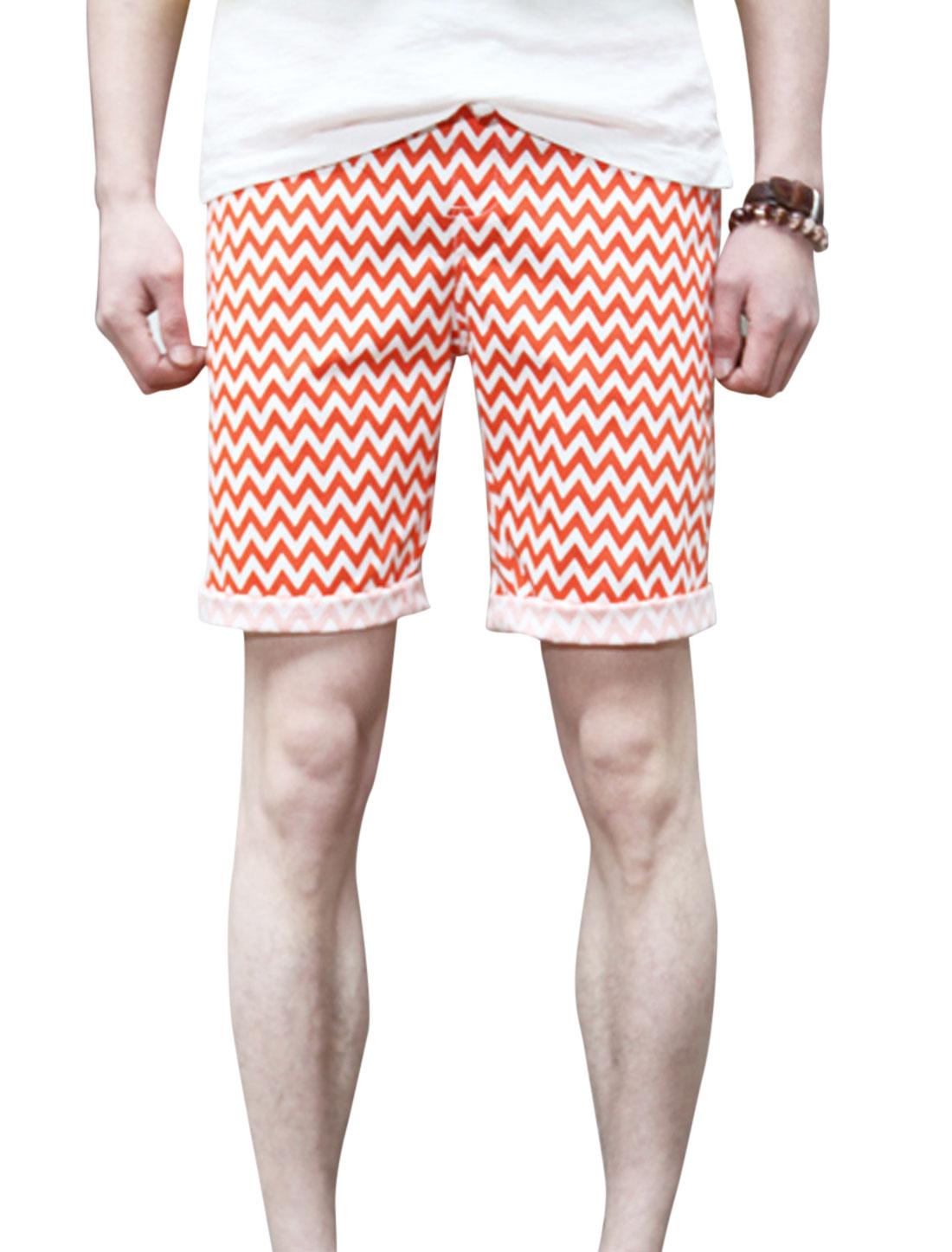 Men Stretchy Waist Zigzag Pattern Fashion Casual Shorts Orange W30