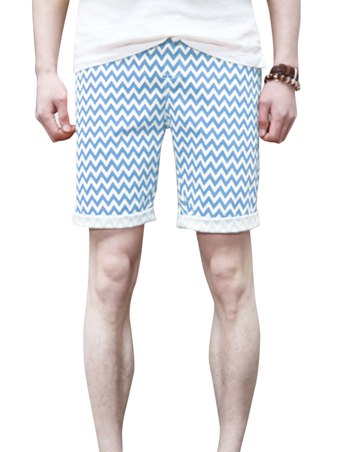 Men Two Pockets Front Ribbed Waist Fashion Casual Shorts Light Blue W30