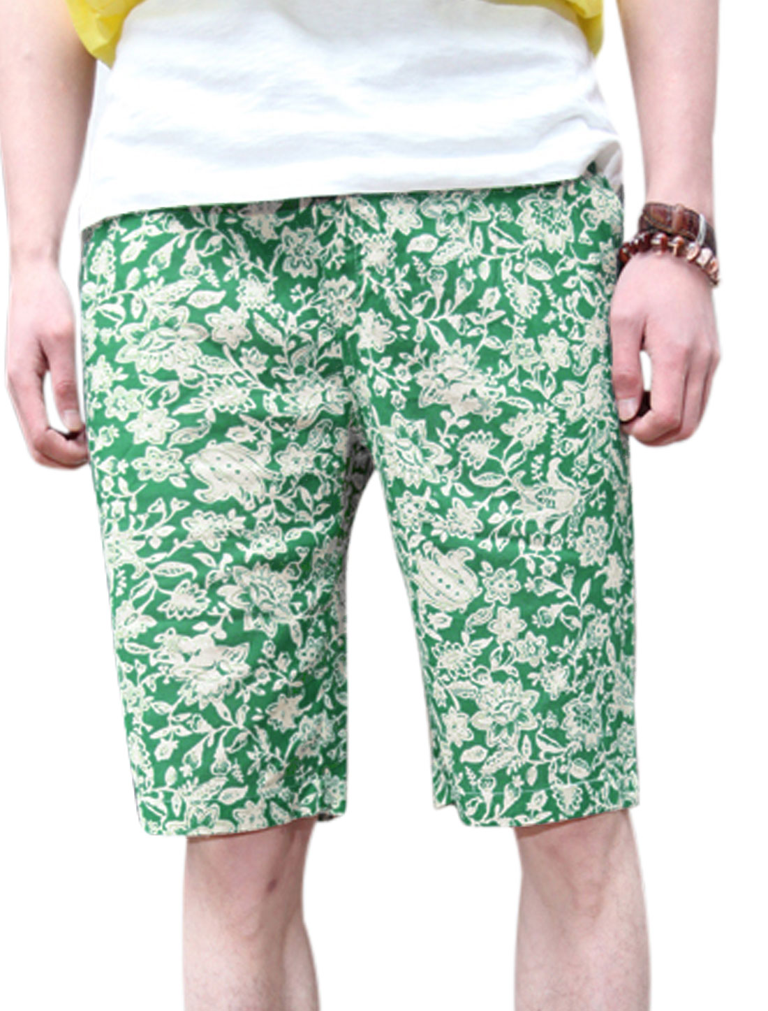 Men Elastic Drawstring Waist Floral Prints Shorts Dusty Green W28