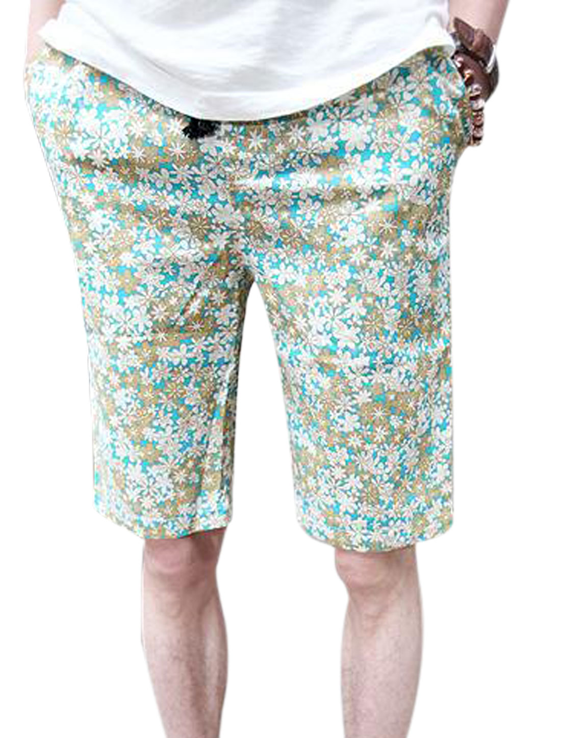 Men Stretchy Drawstring Waist Floral Prints Summer Shorts Turquoise W28