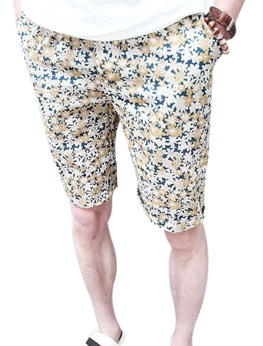 Men Stretchy Drawcord Waist Floral Prints Shorts Dark Blue W28