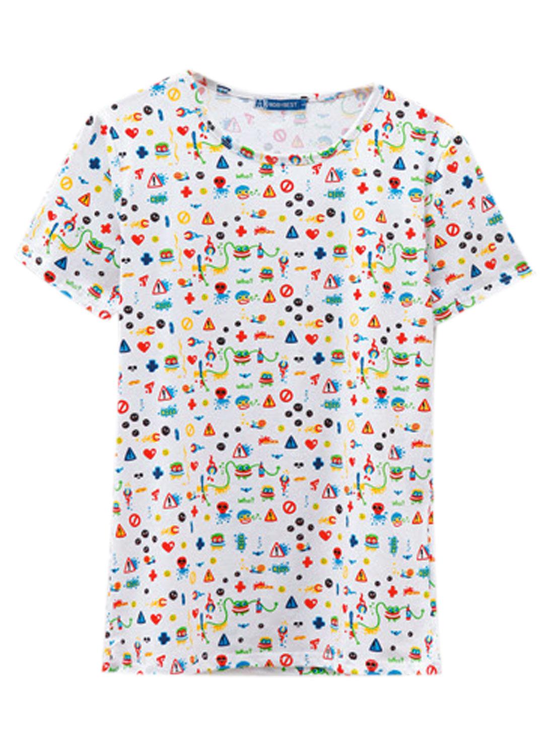 Men Summer Short Sleeve Novelty Prints Basic Tee White M