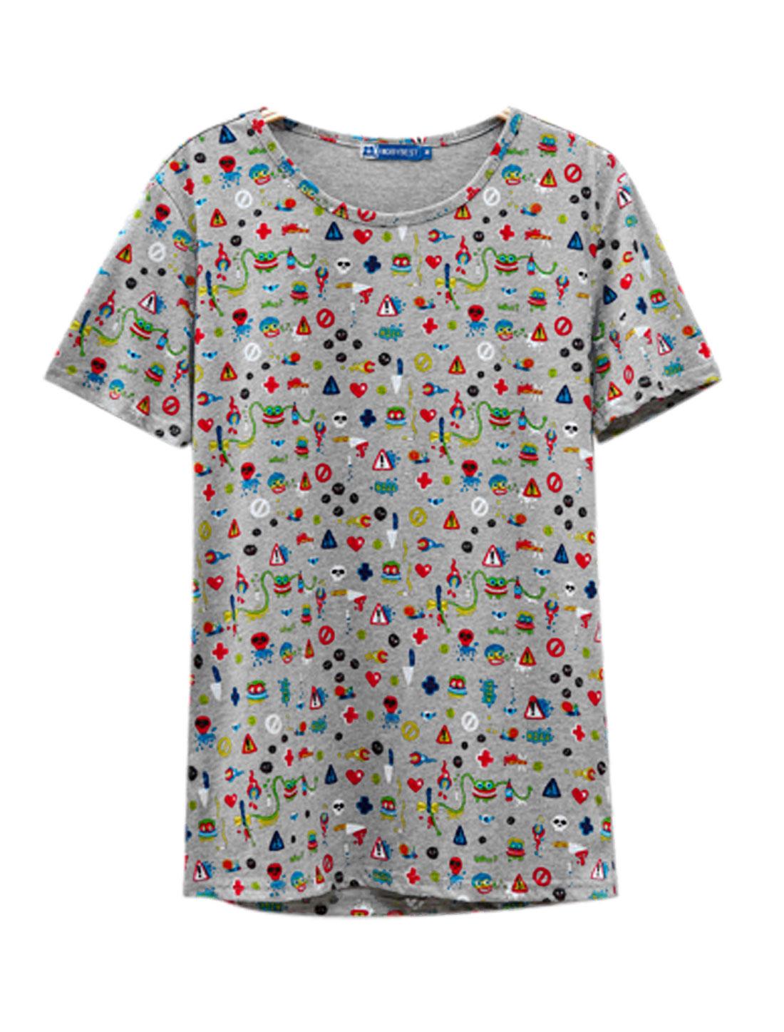 Men Round Neck Short Sleeve Novelty Prints Basic Tee Gray M