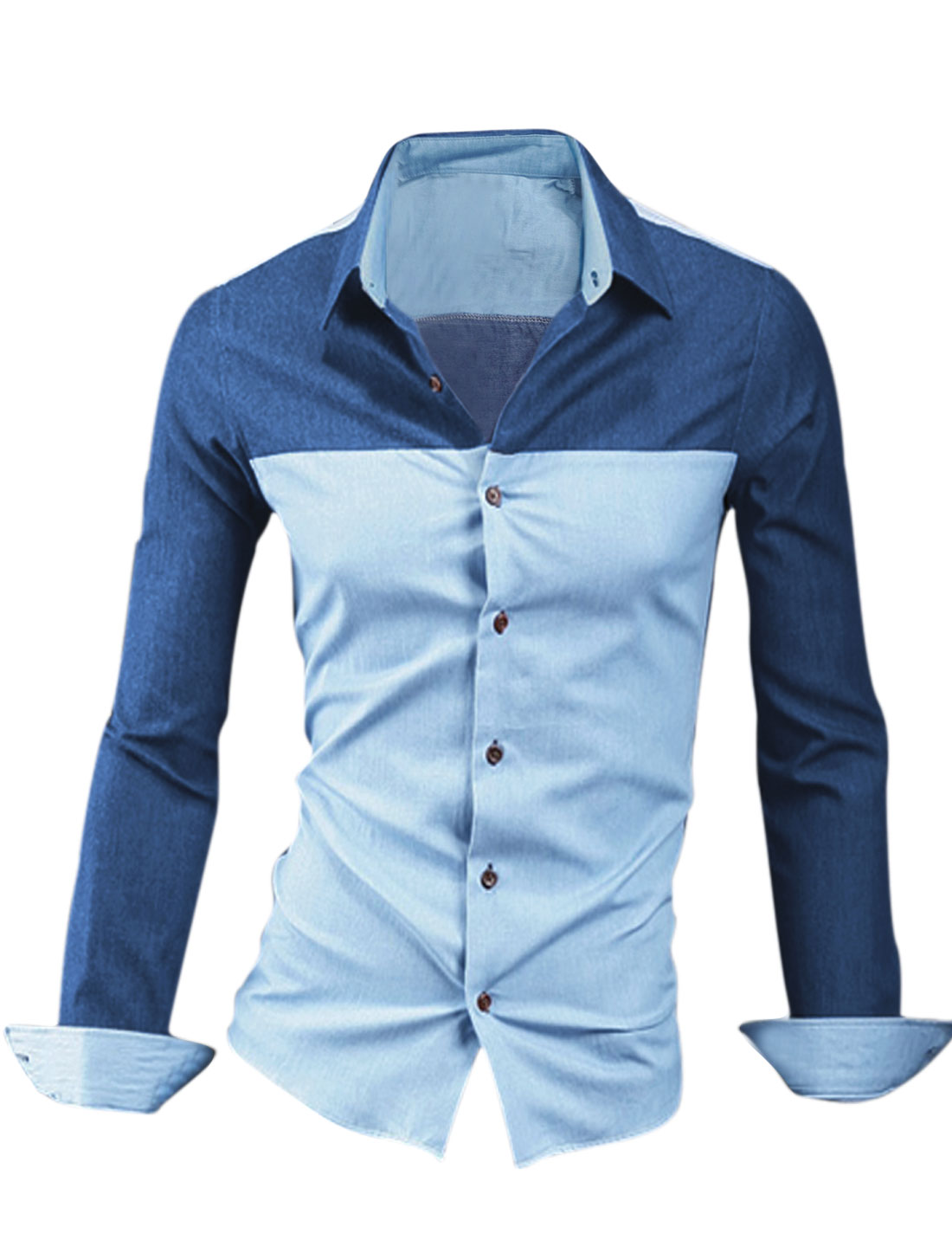 Men Point Collar Splicing Two Tone Stylish Top Shirt Light Blue M
