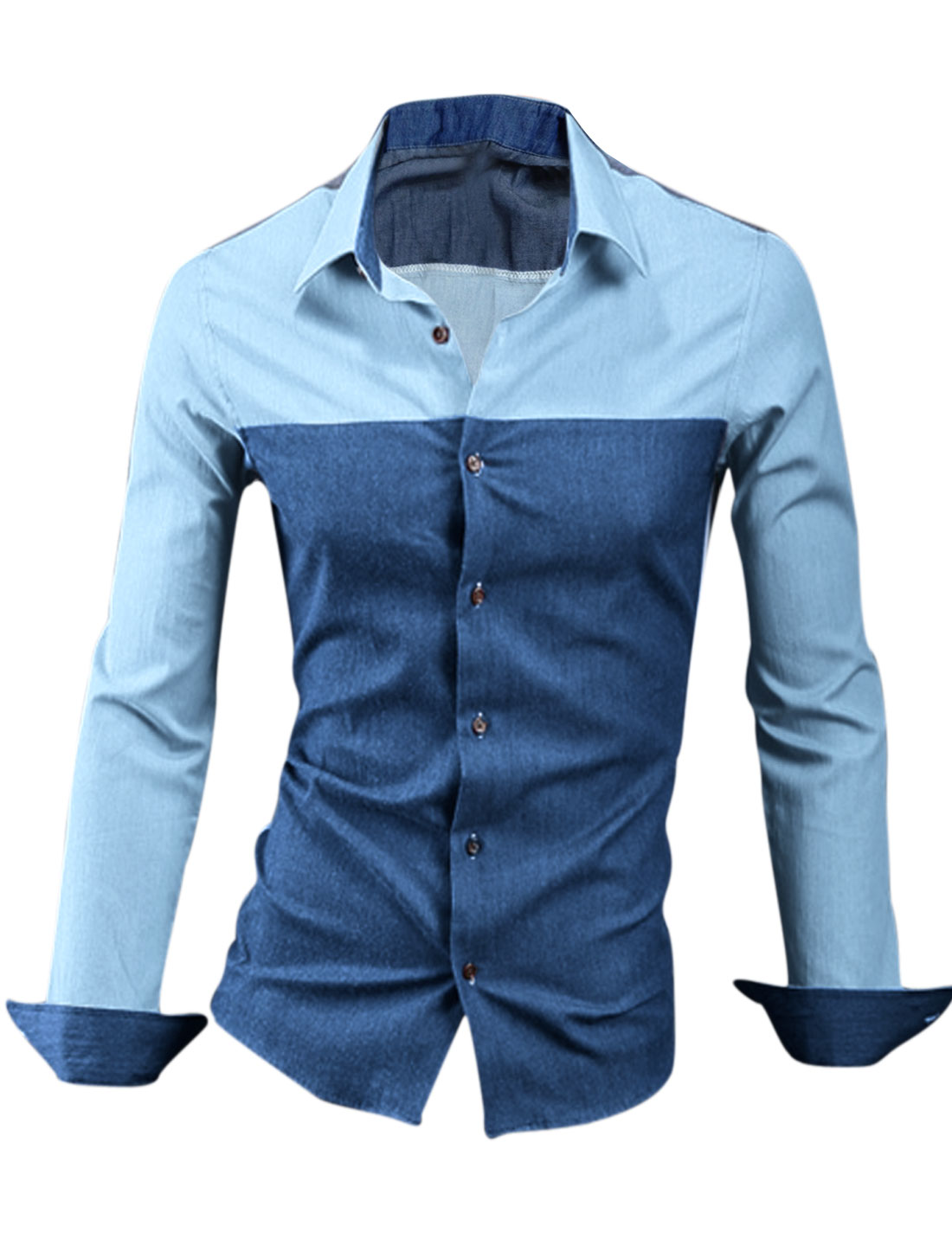 Men Buttons Cuffs Splicing Two Tone Stylish Top Shirt Navy Blue M