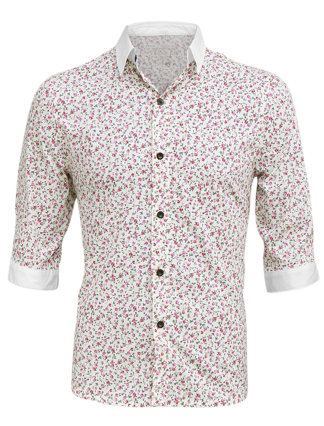 Half Sleeve Floral Prints Casual Top Shirt for Man Pink Beige M