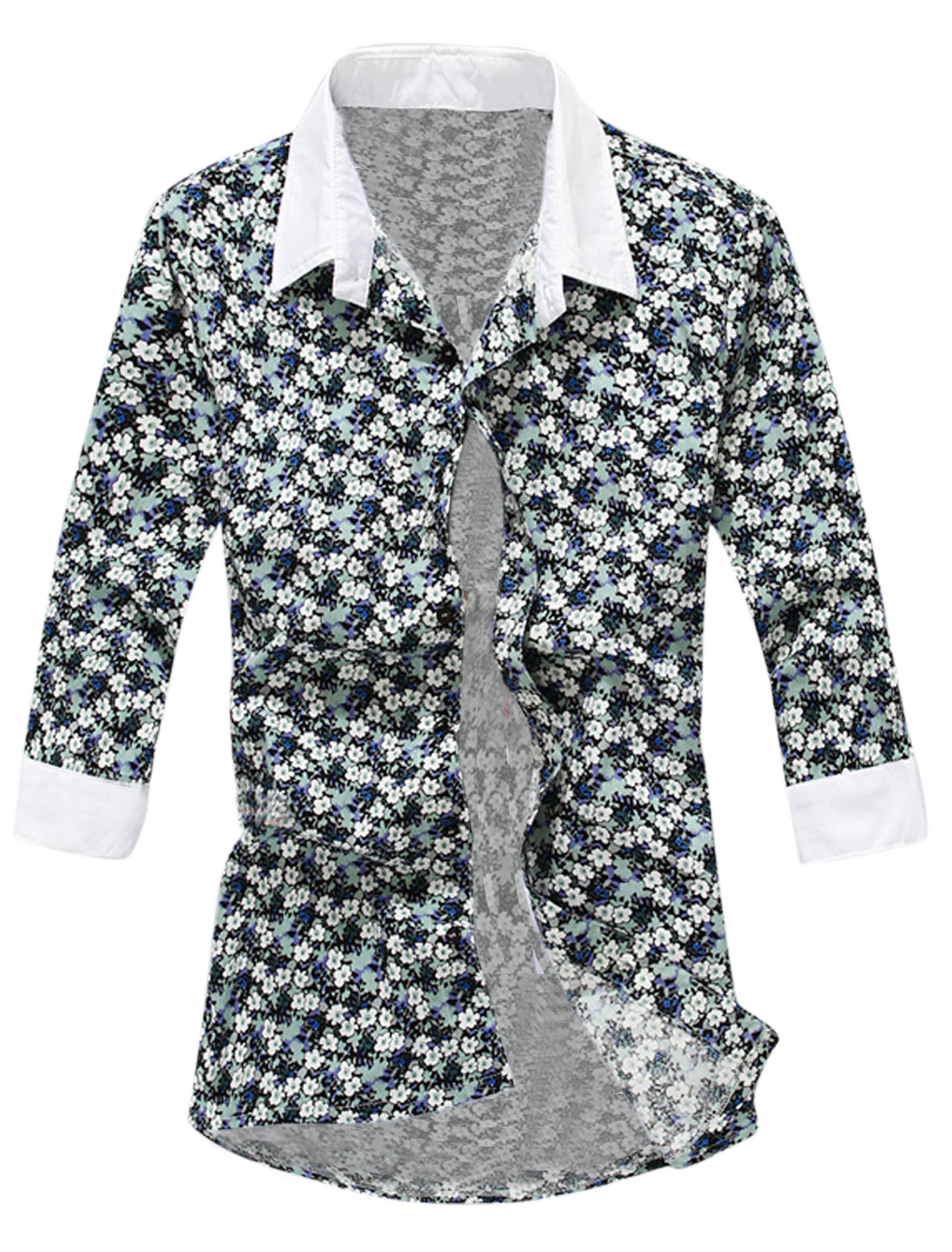 Buttons Cuffs Flower Pattern Stylish Shirt for Men Light Green White M