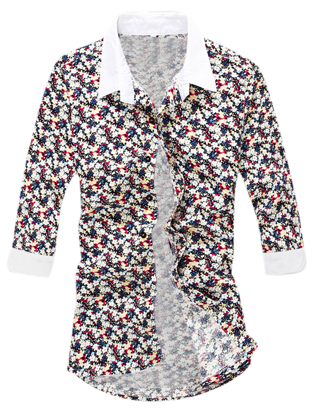 Buttons Closed Flower Pattern Stylish Shirt for Men Red White M