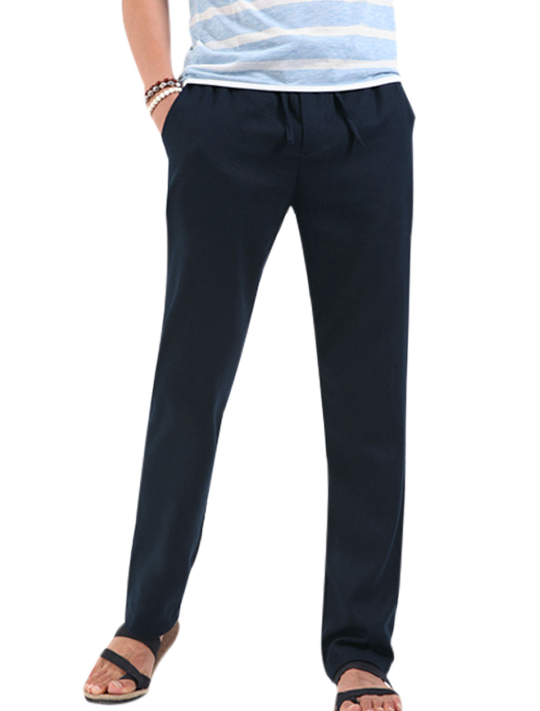 Men Stretchy Drawstring Waist Zip Up Leisure Pants Navy Blue W28
