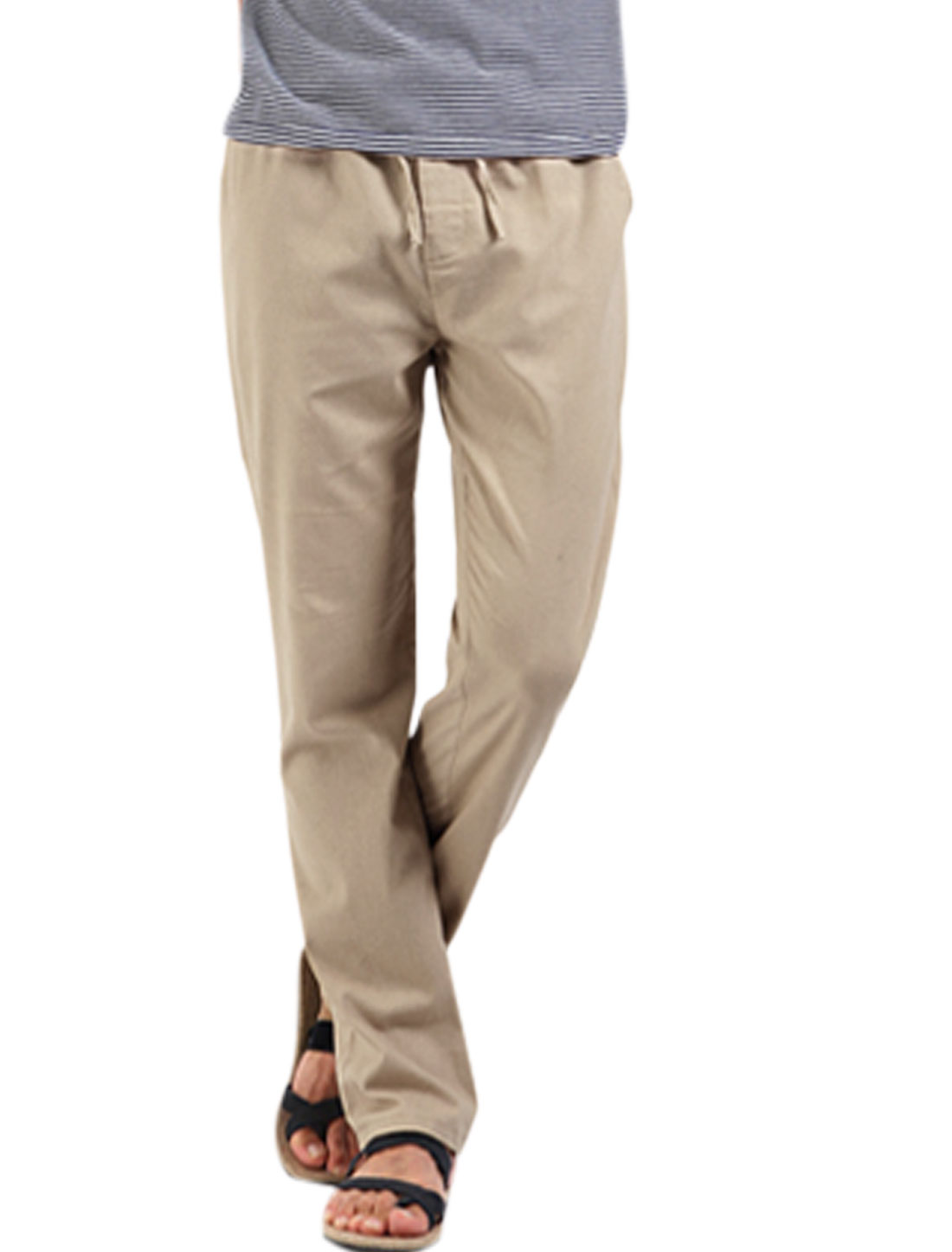 Men Elastic Drawcord Waist Zip Fly Casual Pants Khaki W28