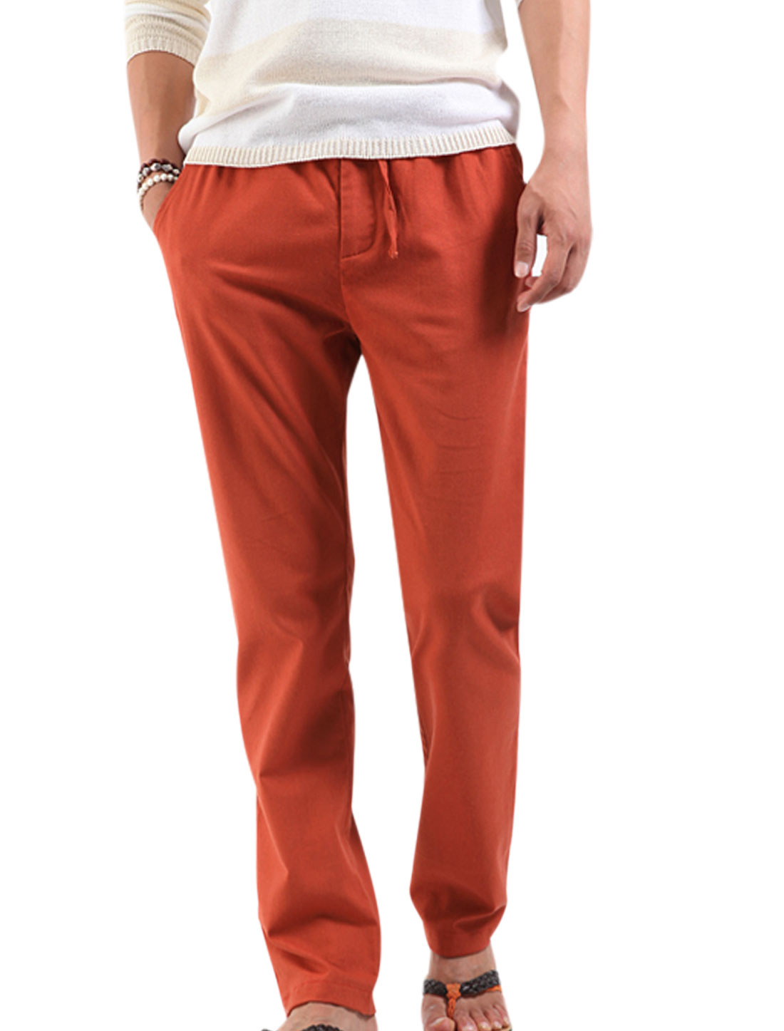 Men Elastic Drawstring Waist Zip Fly Linen Pants Dark Orange W28
