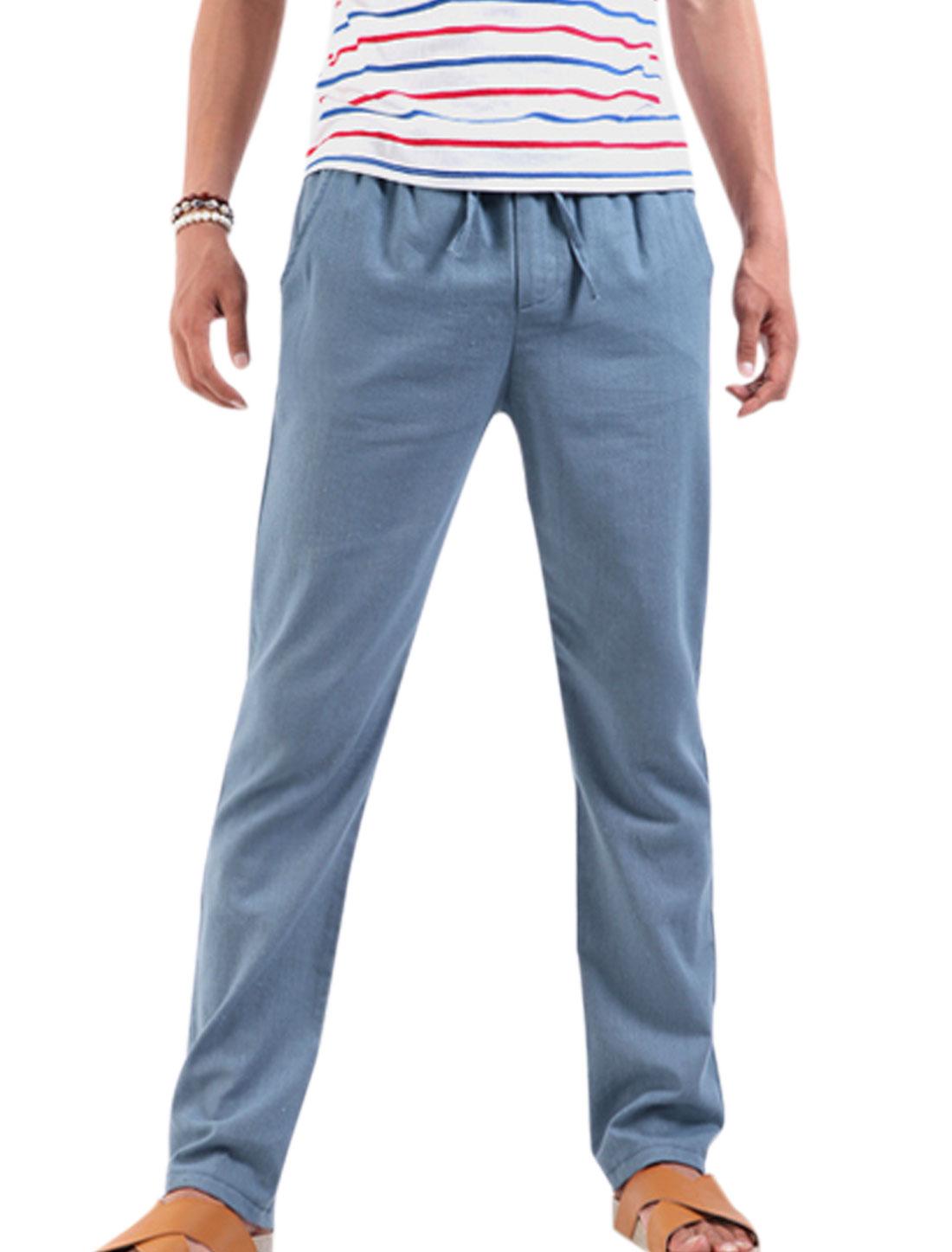 Men Stretchy Drawstring Waist Zipped Front Pants Lavender W28