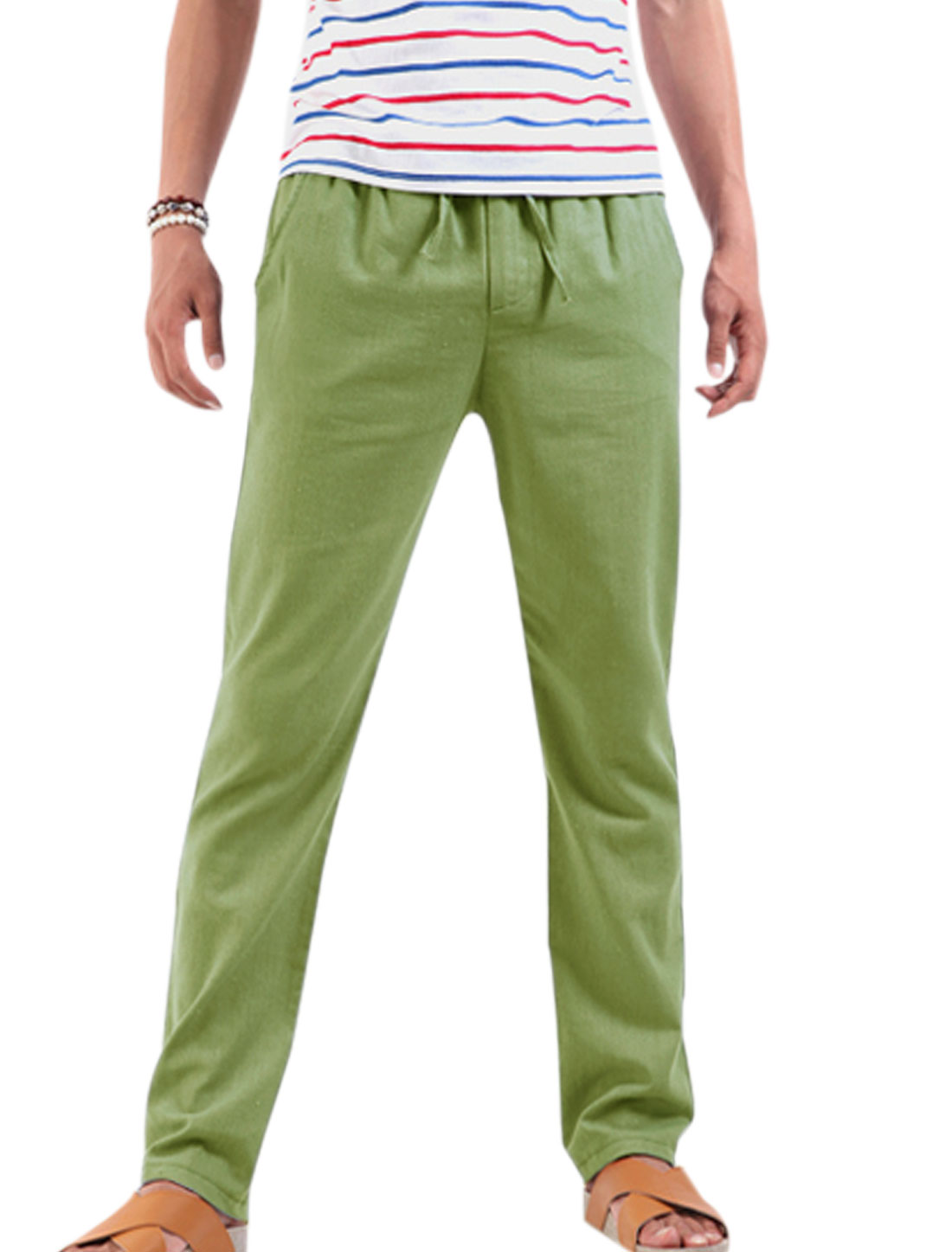 Men Stretchy Drawstring Waist Casual Pants Light Moss Green W28