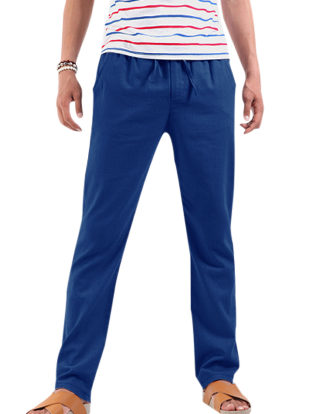 Men Stretchy Drawstring Waist Zipper Closure Pants Royal Blue W28