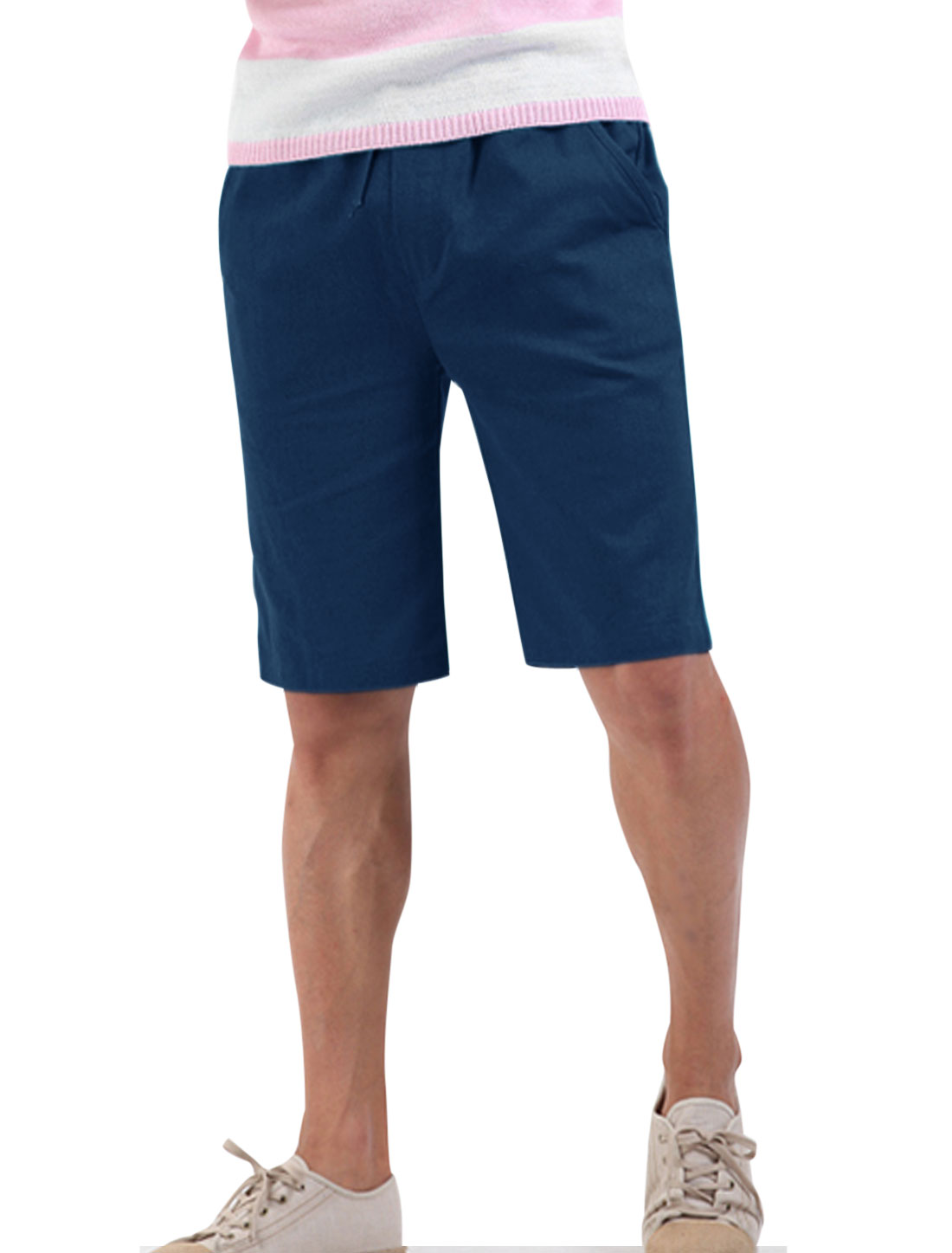 Men Summer Drawstring Waist Slant Pockets Mid Rise Linen Shorts Navy Blue W28