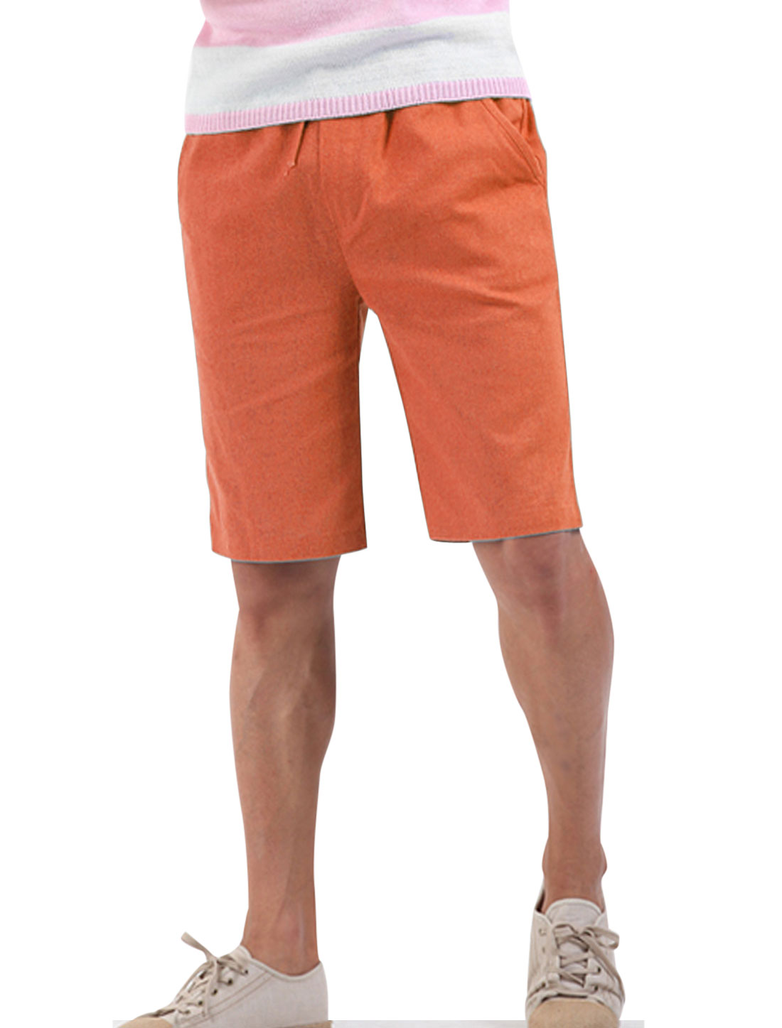 Men Summer Double Patch Pockets Back Natural Waist Linen Shorts Orange W28