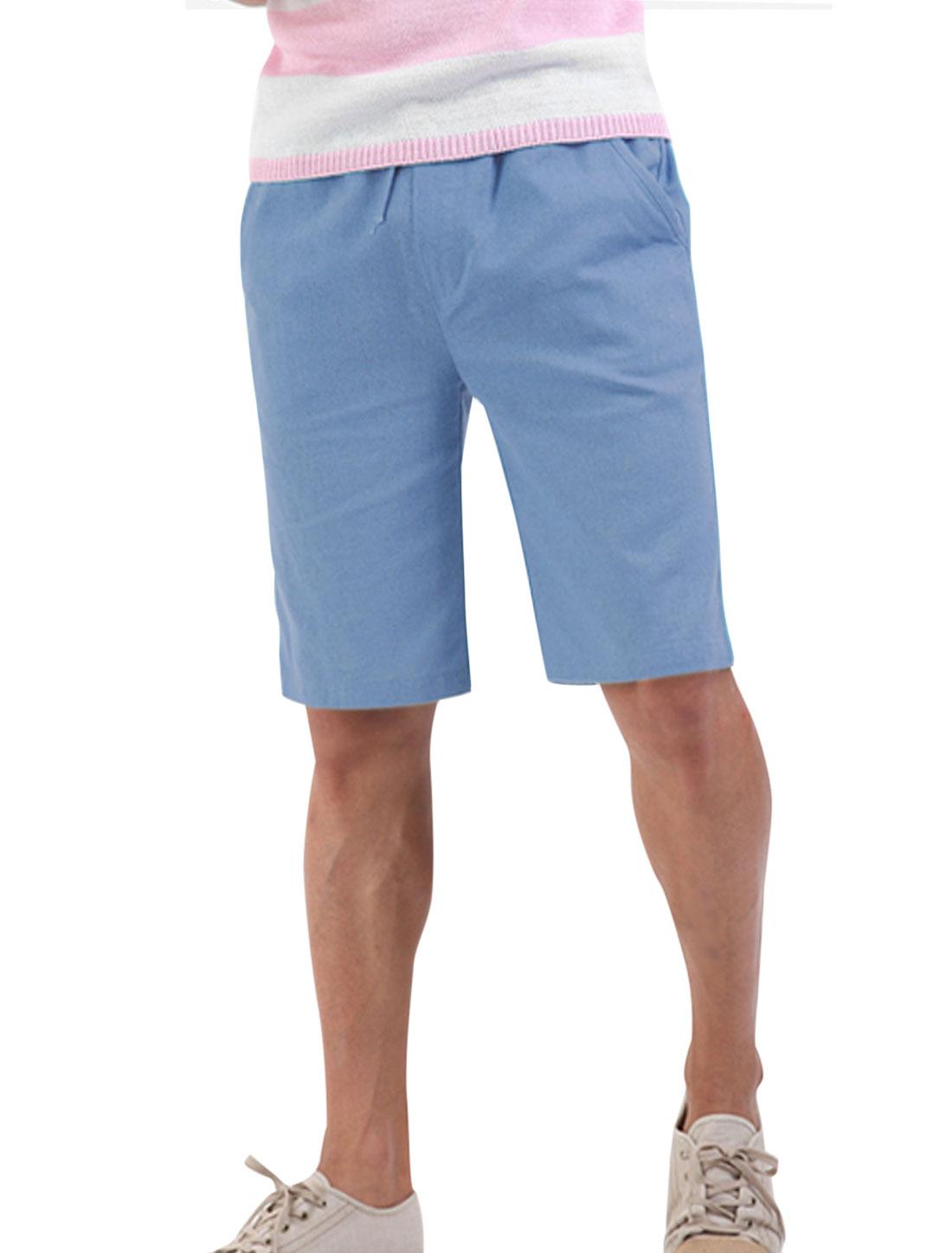 Men Soft Double Patch Pockets Back Drawcord Waist Linen Shorts Steel Blue W28