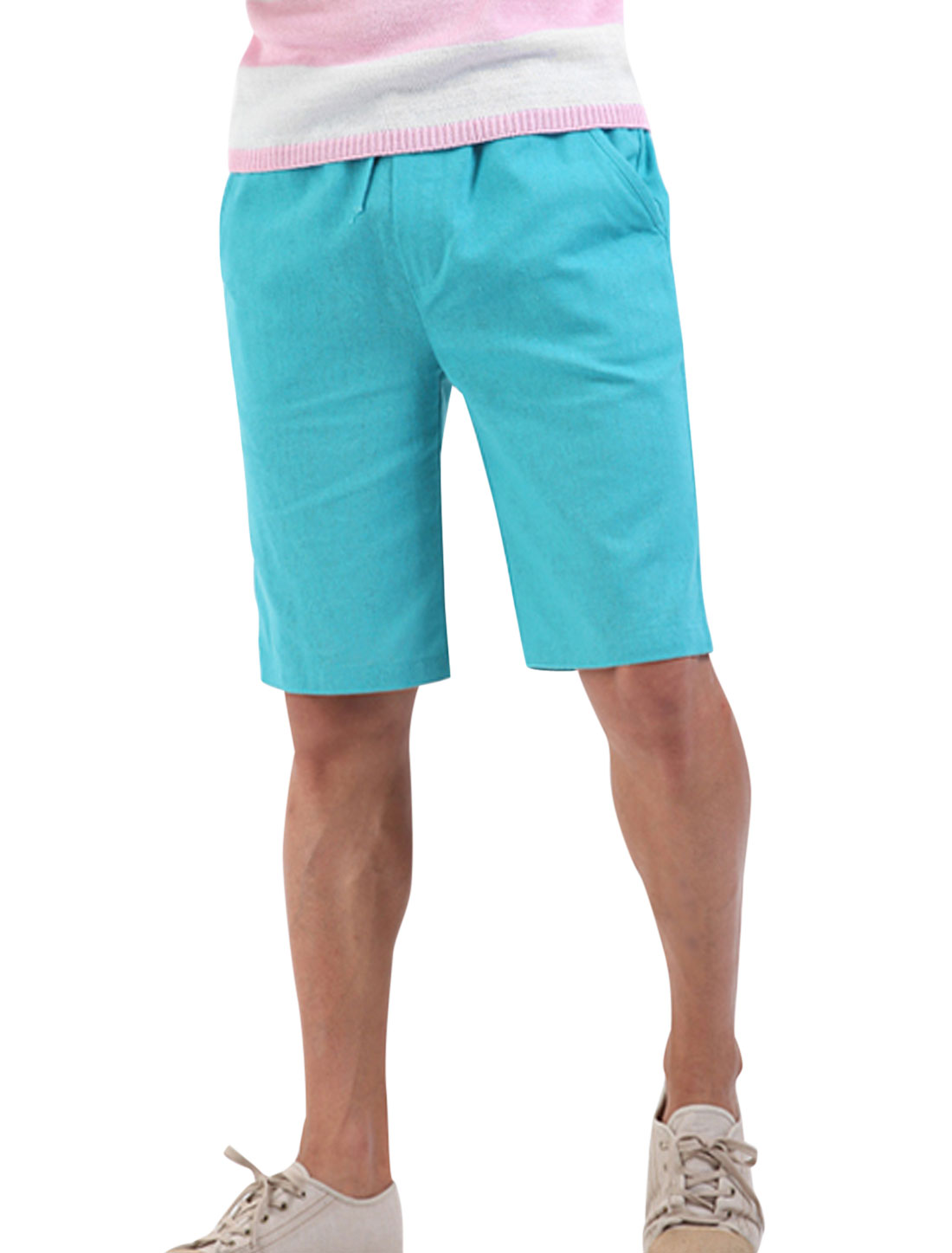 Men Soft Stretchy Drawcord Waist Multi Pockets Linen Shorts Light Blue W28