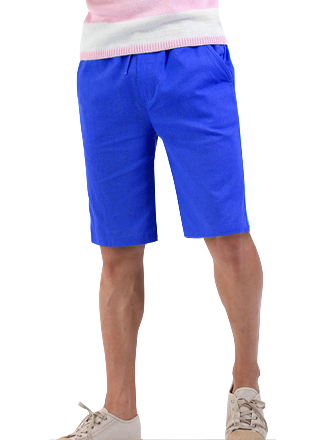 Men Trendy Stretchy Waist Multi Pockets Linen Shorts Royal Blue W28