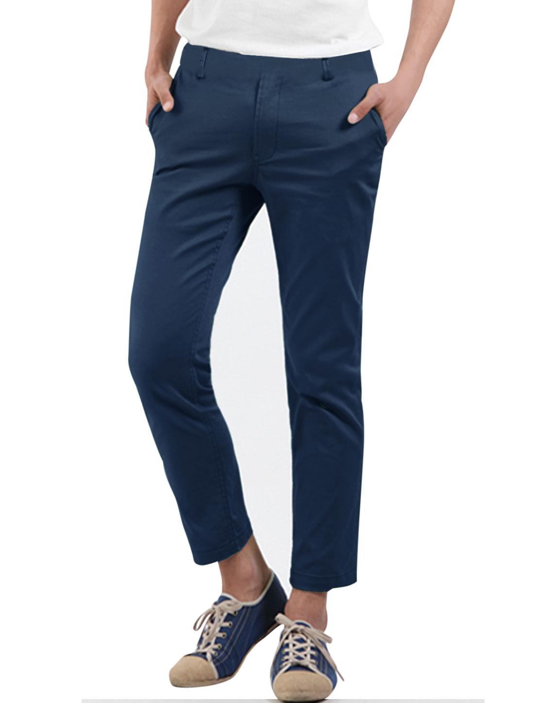 Men Zipper Fly Cuffed Welt Pockets Back Cozy Fit Cropped Pants Navy Blue W30
