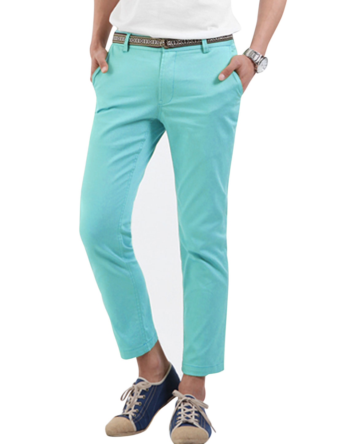 Men Zipper Fly Stripes Line Inner Cozy Fit Cropped Pants Light Blue W30