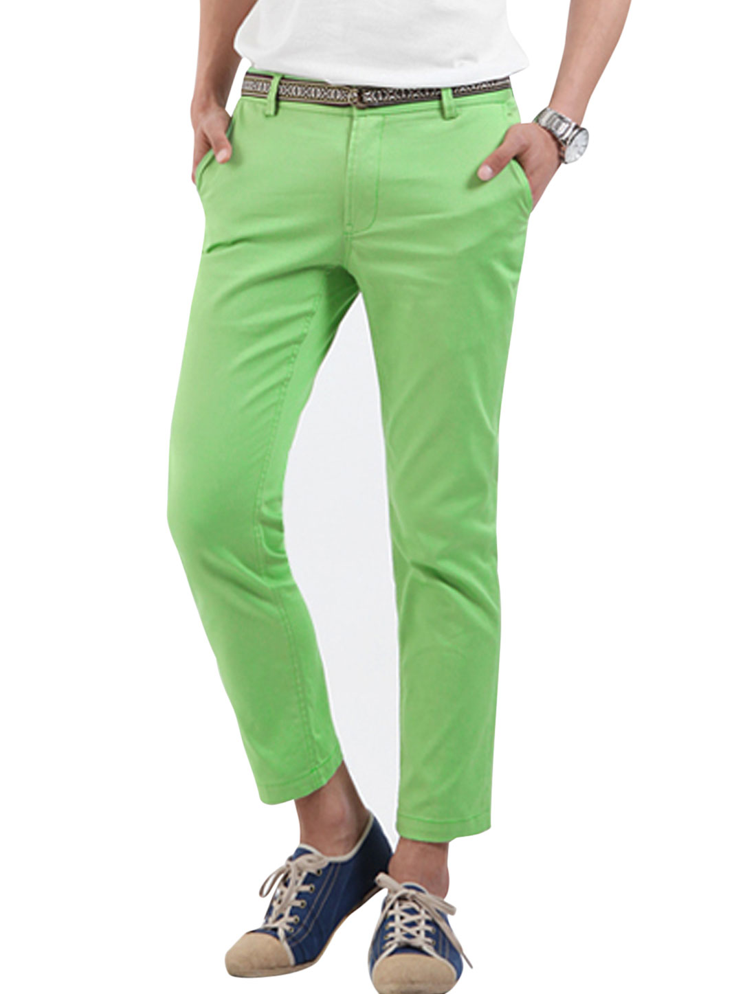 Men Imitation Leather Decor Belt Loop Cropped Pants Light Green W30