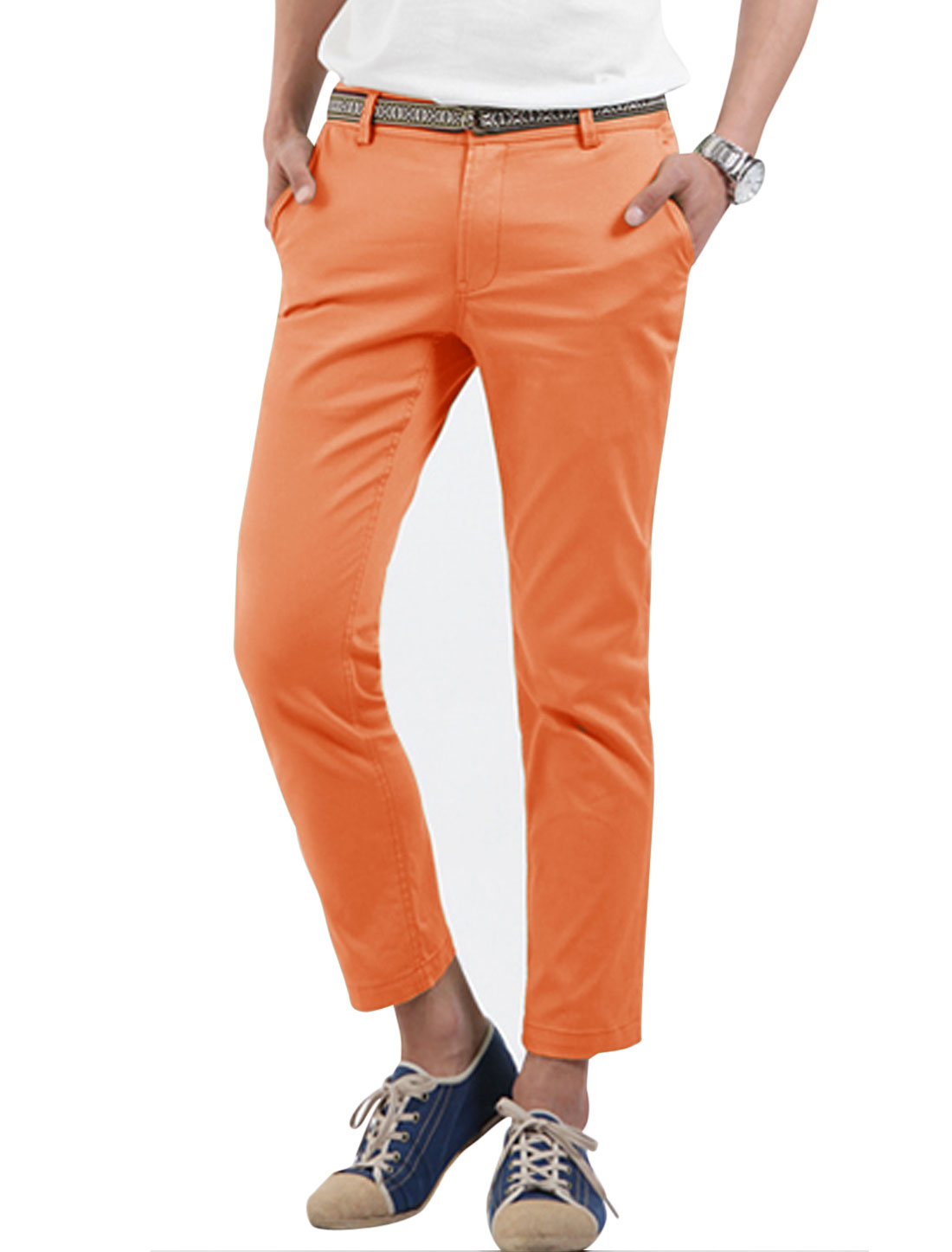 Men Cuffed Pockets Stripes Line Inner Cropped Pants Light Orange W30