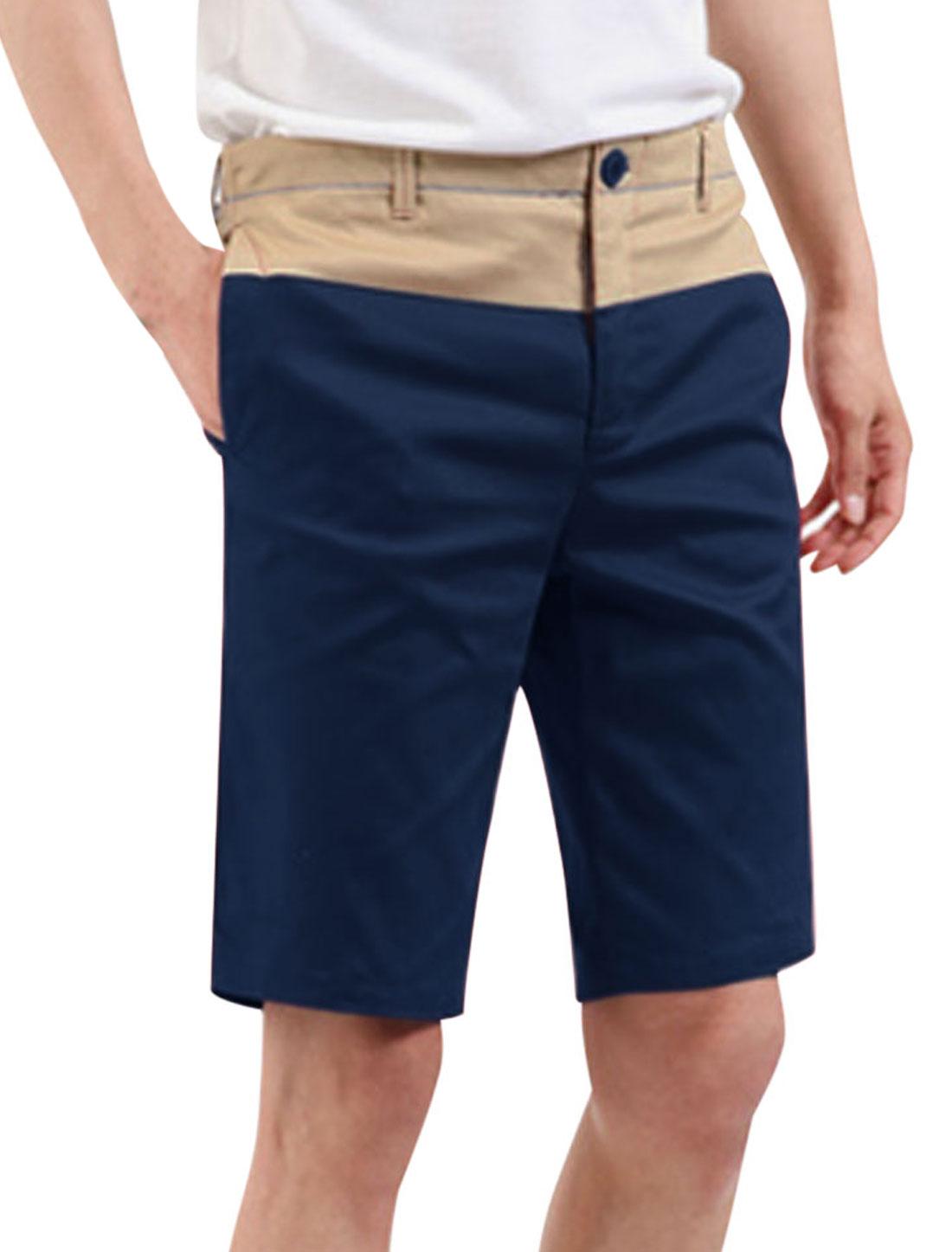 Men Contrast Color Seam Pockets Front Cozy Fit Shorts Navy Blue Khaki W30
