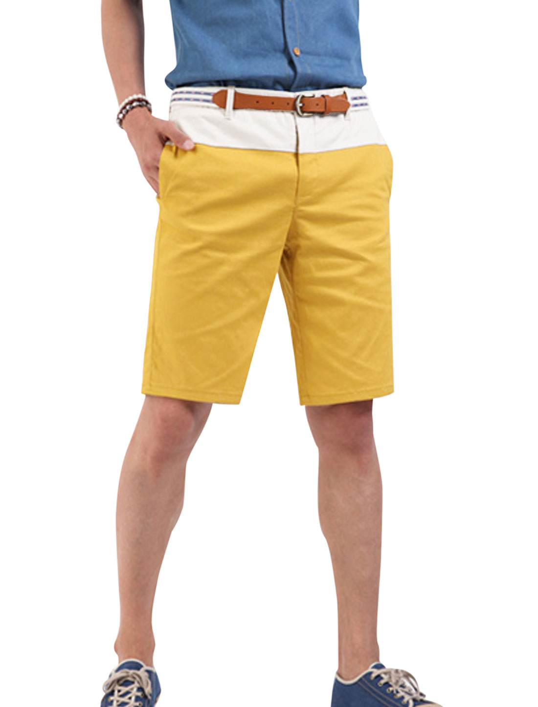 Men Two Tone Waist Loop Cozy Fit Shorts White Dark Yellow W30