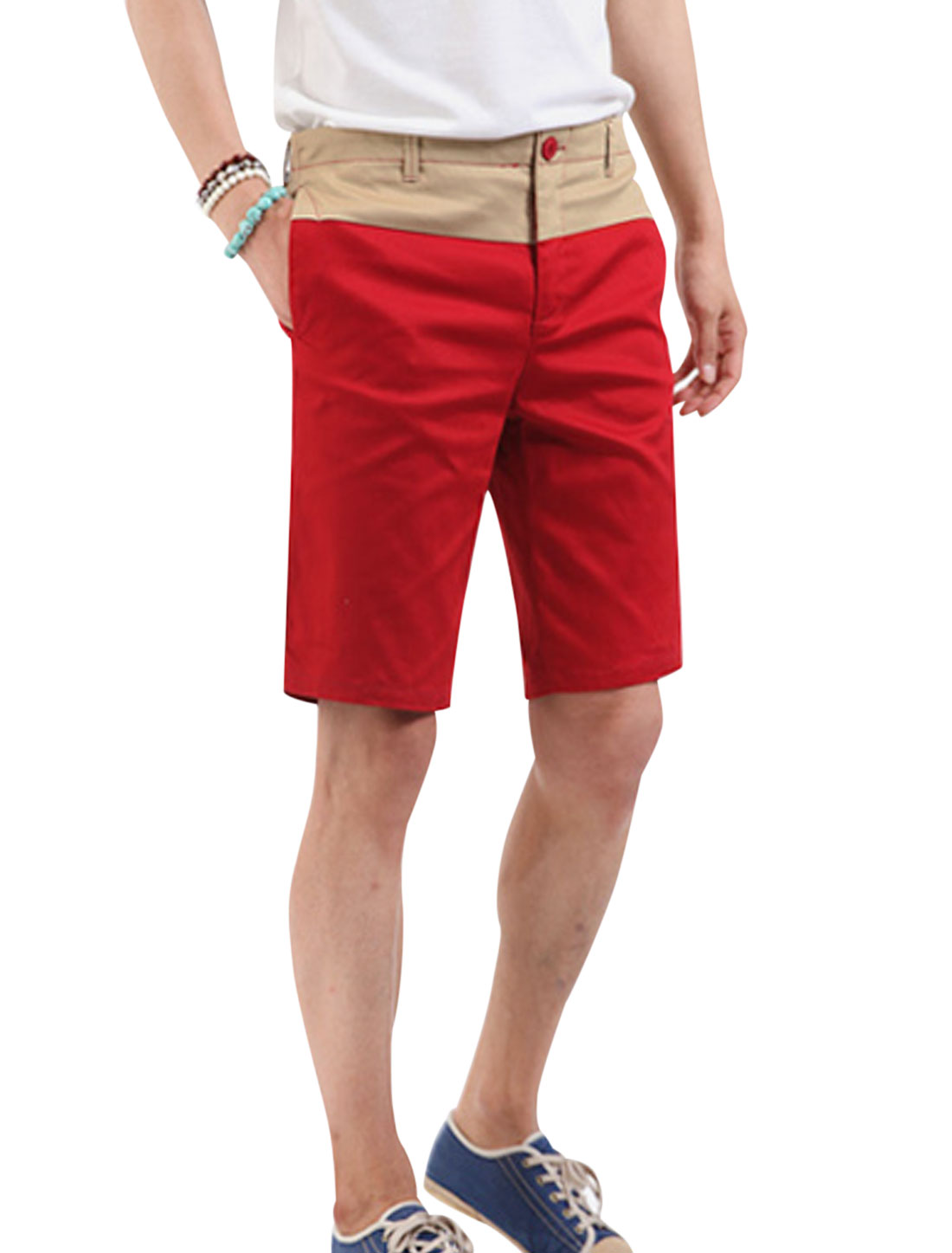 Men Color Block Fake Flap Pockets Back Cozy Fit Shorts Red Khaki W30