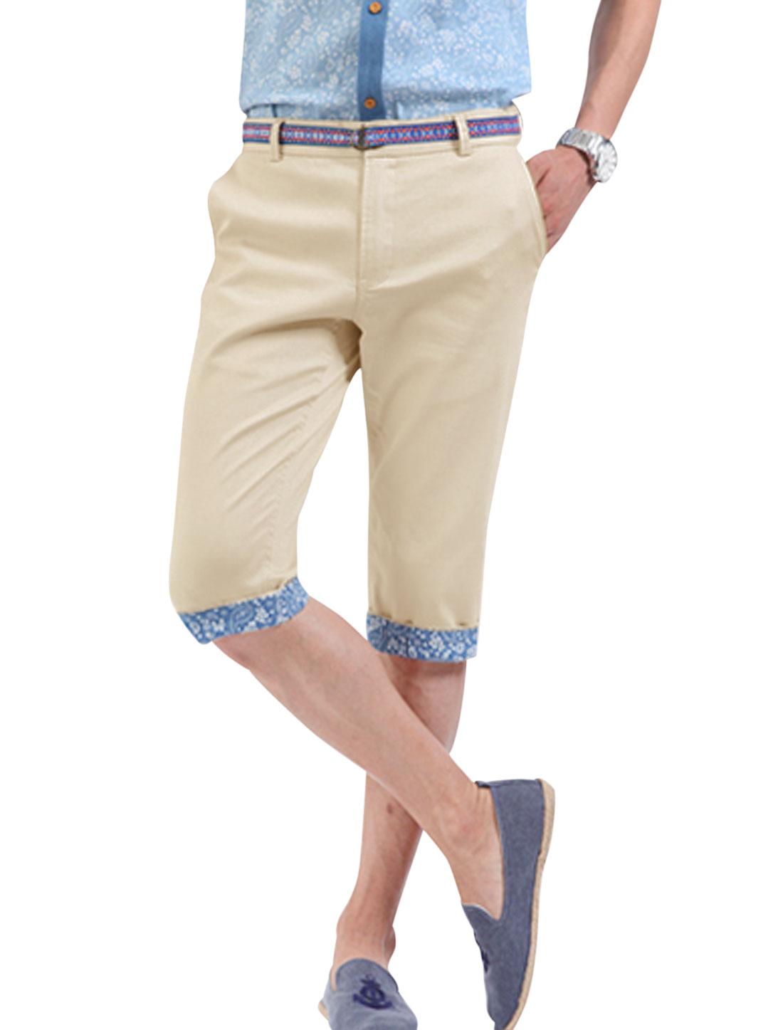 Men Paisleys Pattern Button Through Pockets Back Slim Fit Half Pants Khaki W30