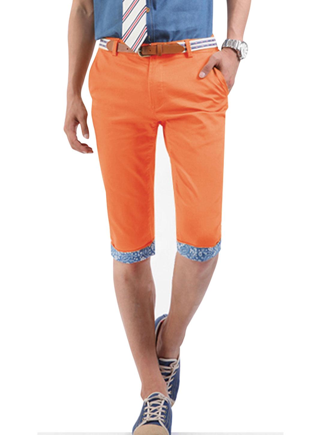 Men Floral Prints Zip Fly Cuffed Slim Fit Half Pants Light Orange W30