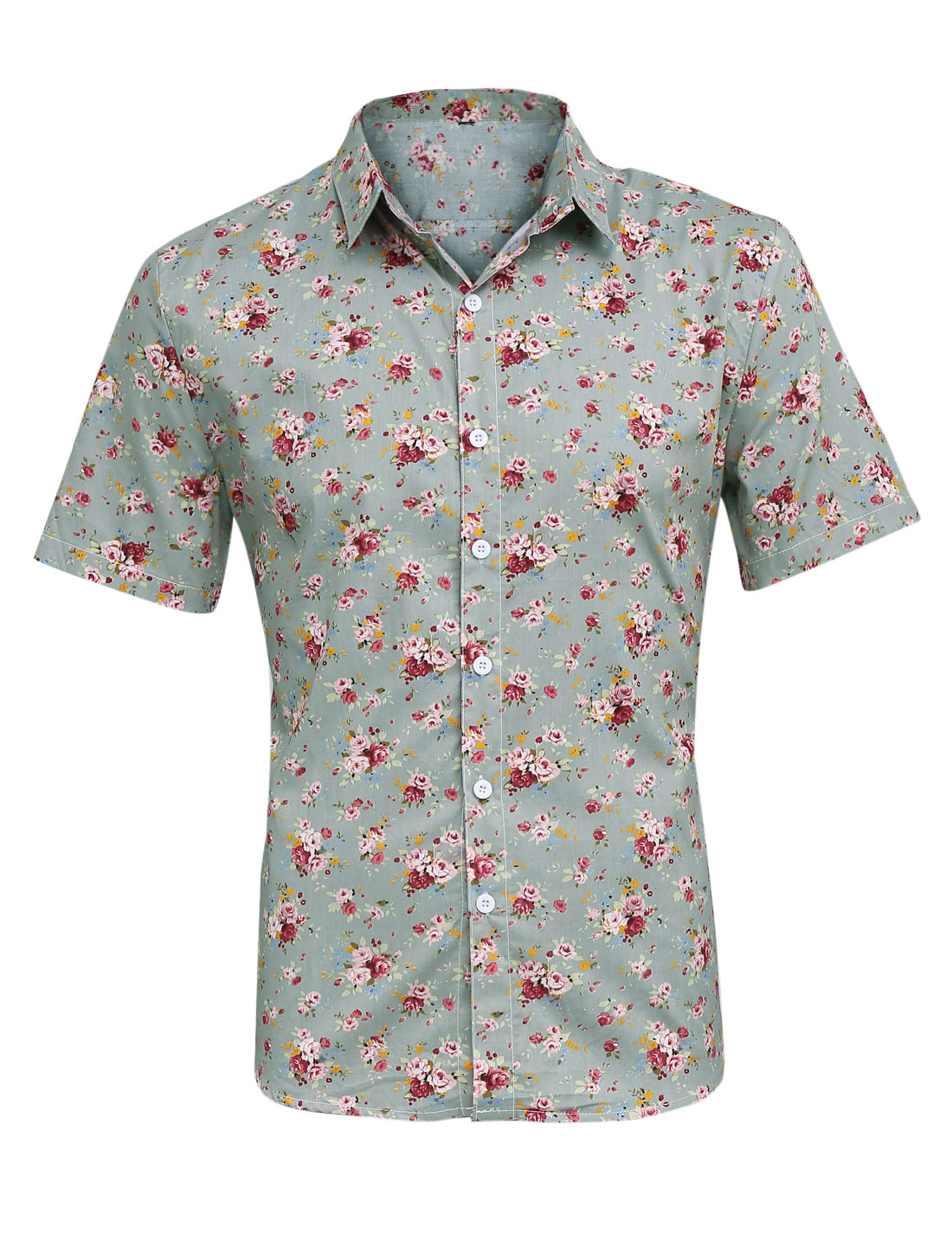 Men Point Collar Button Front Floral Prints Shirt Warm Gray M