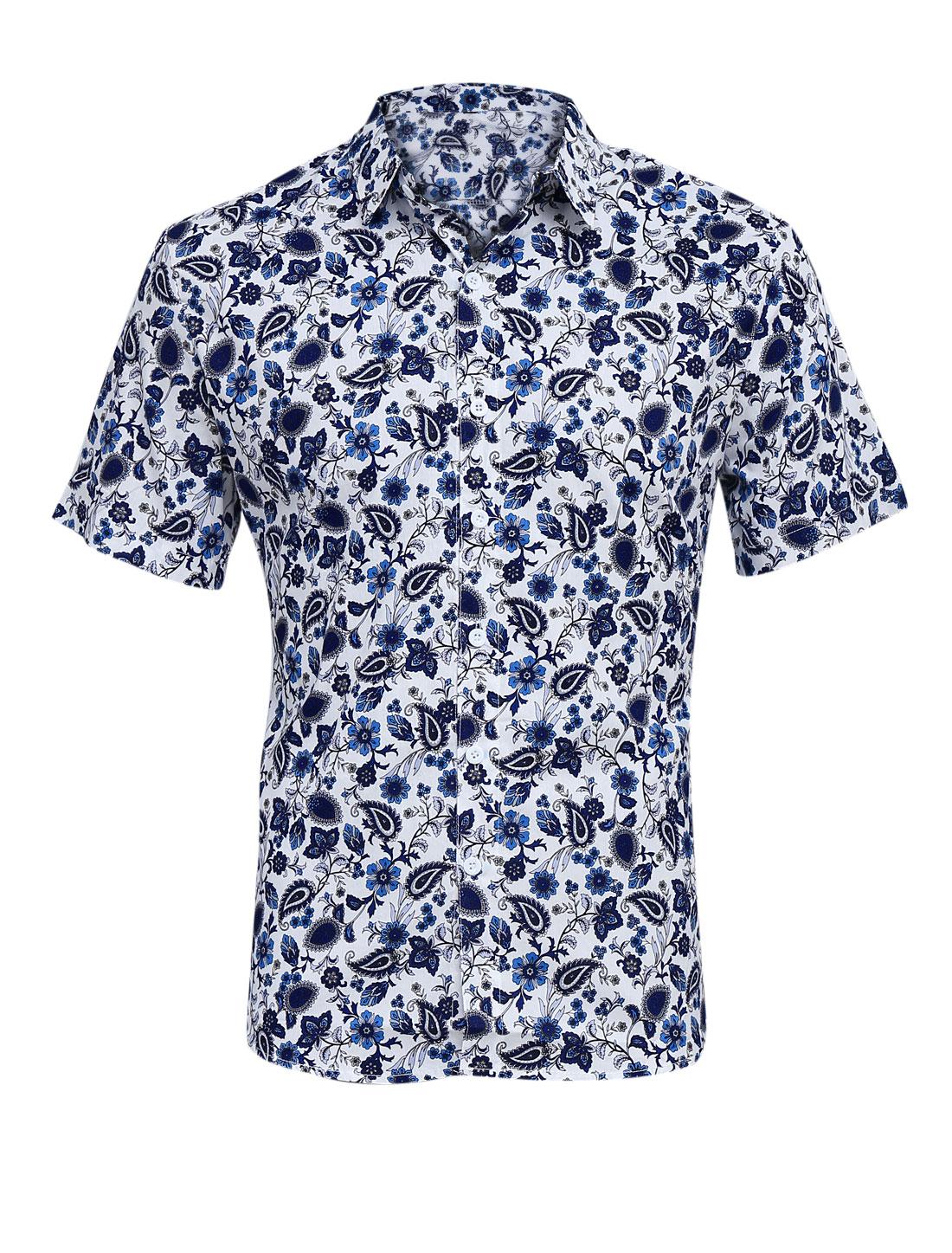 Men Point Collar Button-Front Floral Prints Shirt Multicolor M